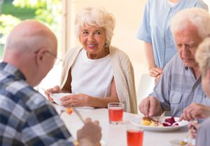 Residents Eating Lunch at An Assistive Living Facility