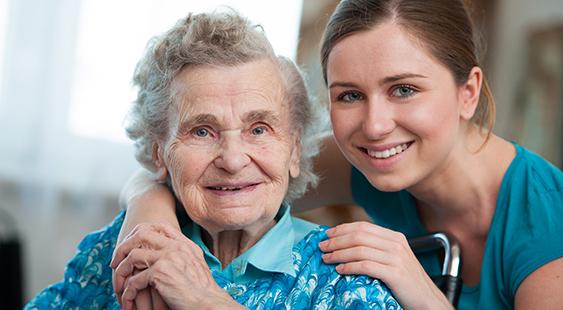 Elderly Lady with her Nurse