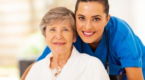 Senior residcent with nurse